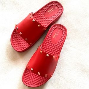 •Pyramid-1• Studded Slide by Glaze (Red Edition)